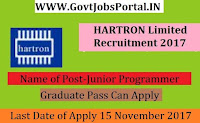 HARTRON Limited Recruitment 2017– 80 Programmer, Junior Programmer