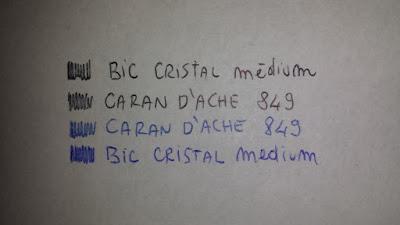test-ink-caran-d-ache-vs-bic