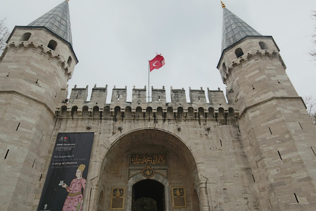 A well-maintained castle entrance at Topkapi Palace in Istanbul, Turkey