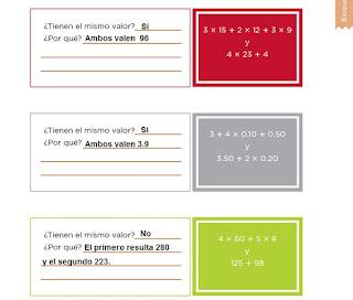 Respuestas Apoyo Primaria Desafíos Matemáticos 4to. Grado Bloque III Lección 48 ¿Tienen el mismo valor?