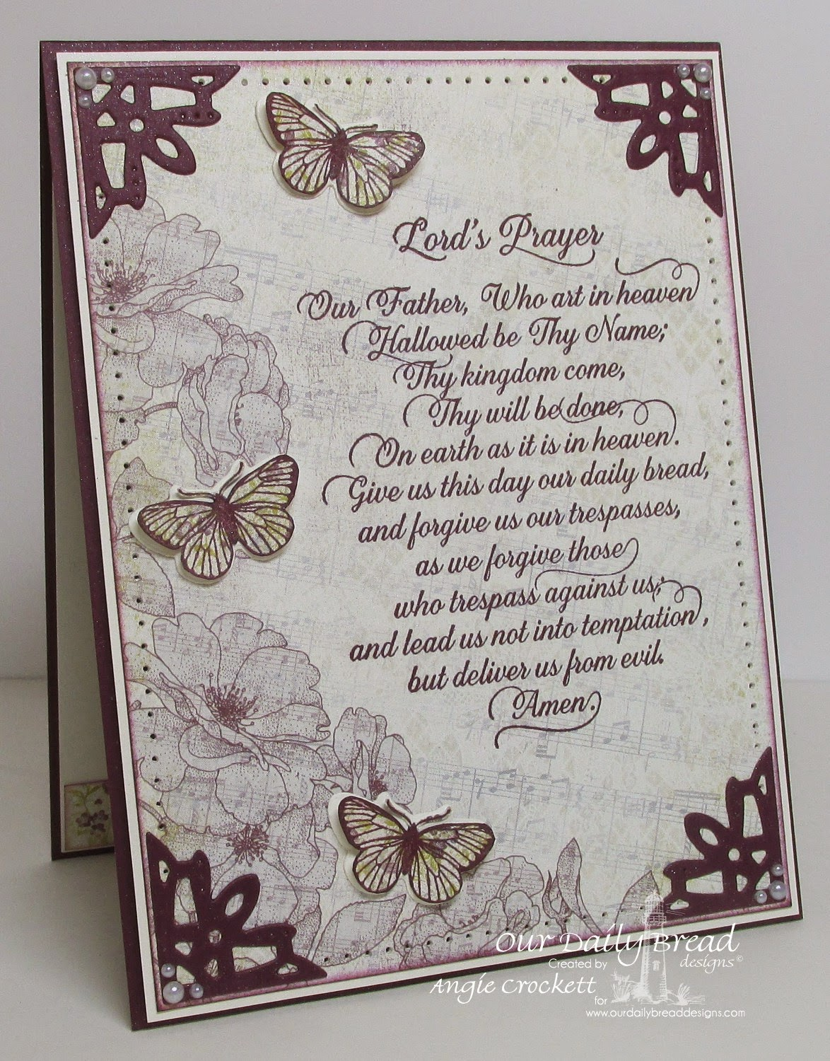 ODBD Lord's Prayer Script, ODBD Butterfly and Bugs, ODBD Custom Butterfly and Bugs Dies, ODBD Custom Ornate Borders and Flower Dies, Card Designer Angie Crockett
