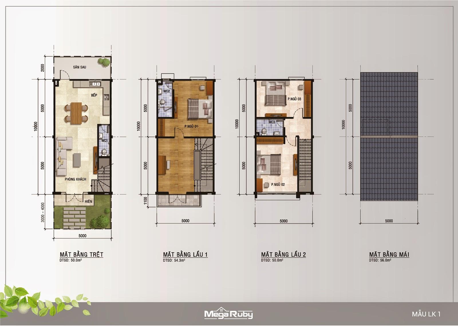 Những mẫu nhà ở dự án Mega Ruby quận 9