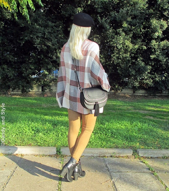 PlaidCape+BlackTurtleneck+SuedePants+AnkleBoots+CrossbodyBag+RedLips - Lilli Candy and Style Fashion Blog