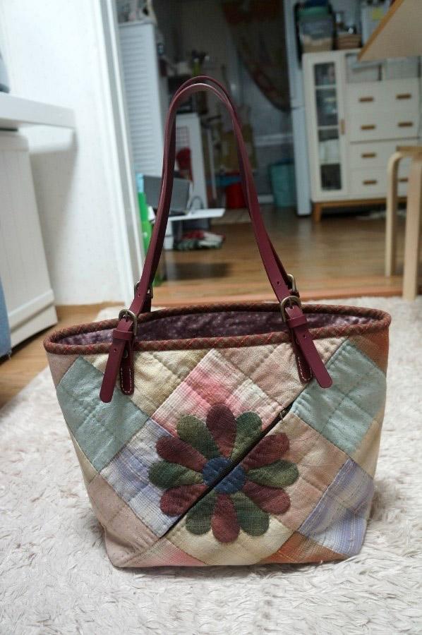 Patchwork Bag with Flower Appliques. DIY step-by-step tutorial.  Сумка пэчворк с цветком аппликацией.