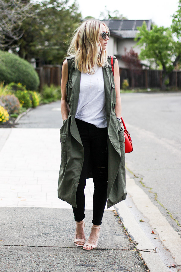 green trench coat vest with pockets parlor girl