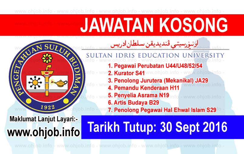 Jawatan Kerja Kosong Universiti Pendidikan Sultan Idris (UPSI) logo www.ohjob.info september 2016