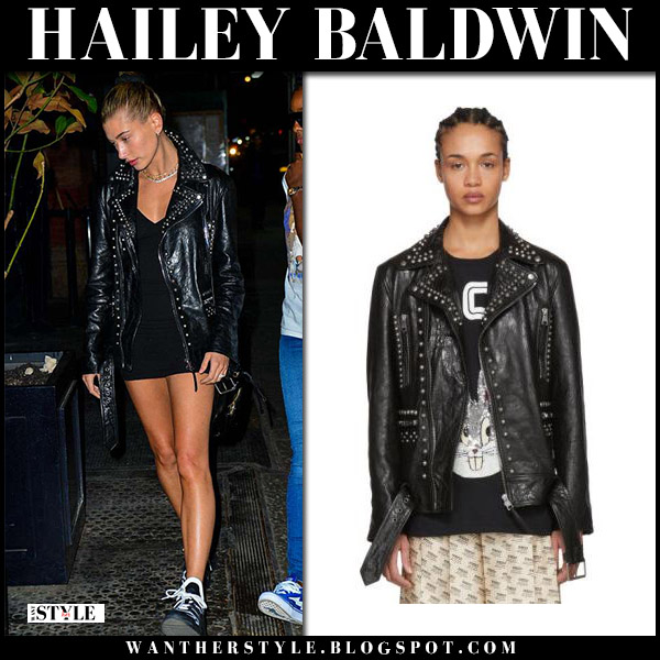 Hailey Baldwin in black leather studded jacket gucci model style may 2
