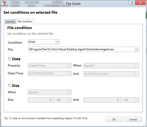 Detecting VDI and/or laptop sessions in AppSense Environment