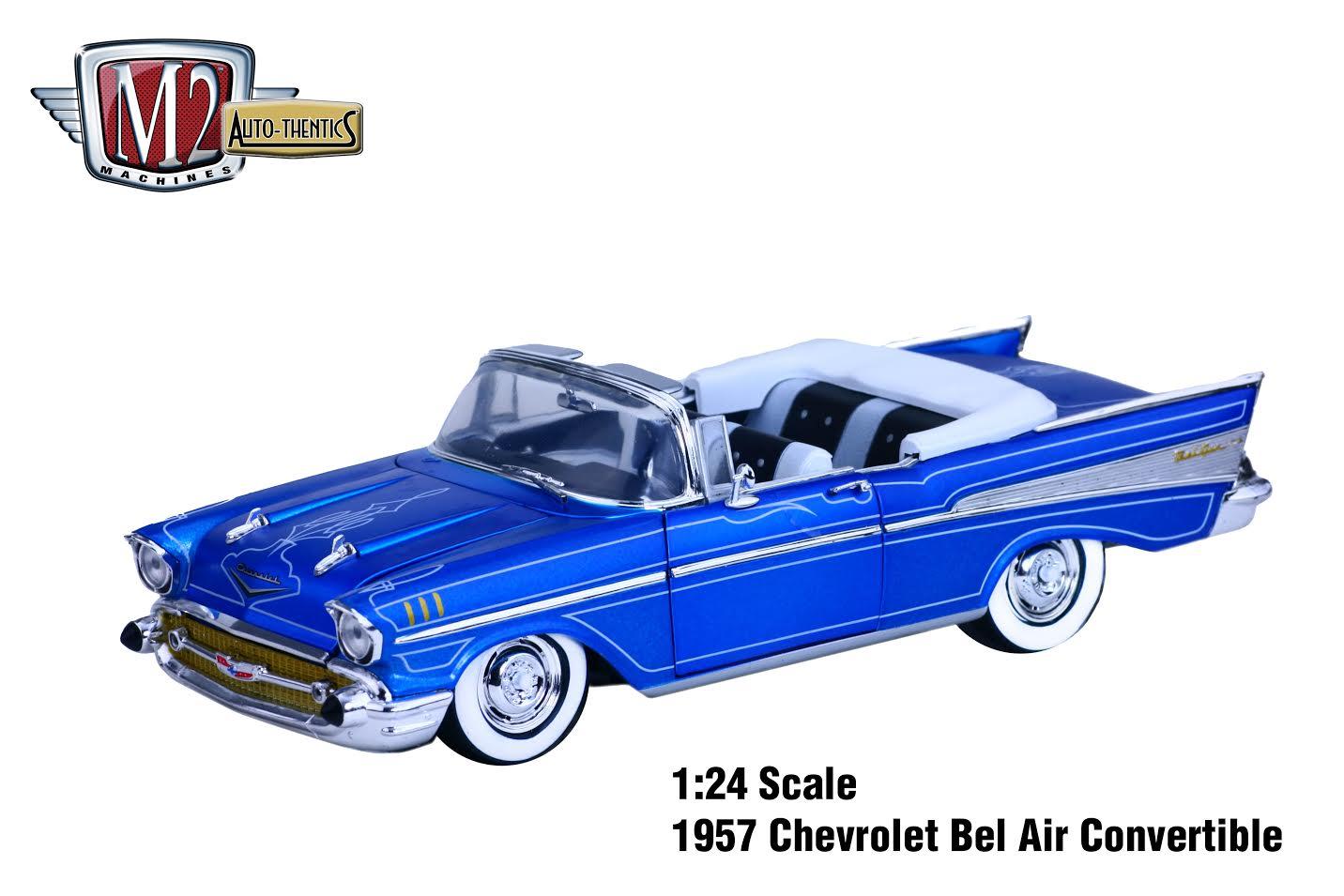 Diecast Cars 1 64 Modellautos 164 Modellbilar M2 Machines News 1957 Chevy Bel Air Convertible Lowrider 24 Release 51a B Chevrolet