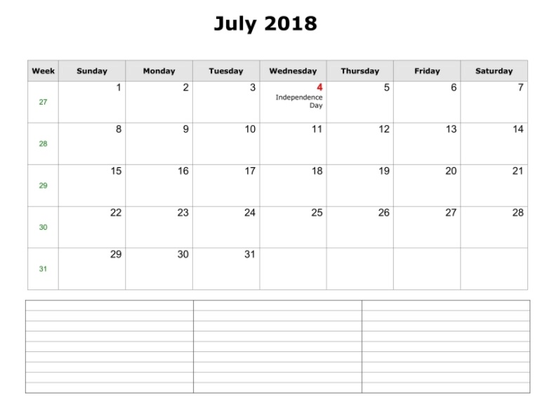 July 2018 Monthly Calendar Printable Templates - Printable Calendar 2018 - printable monthly calendar sample
