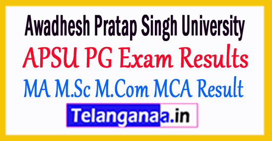 APSU MA M.Sc M.Com MCA 2d 4th Sem Result 2018 Awadhesh Pratap Singh University