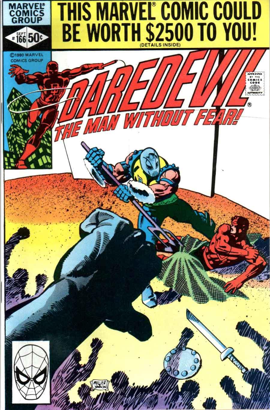 Daredevil v1 #166 marvel comic book cover art by Frank Miller