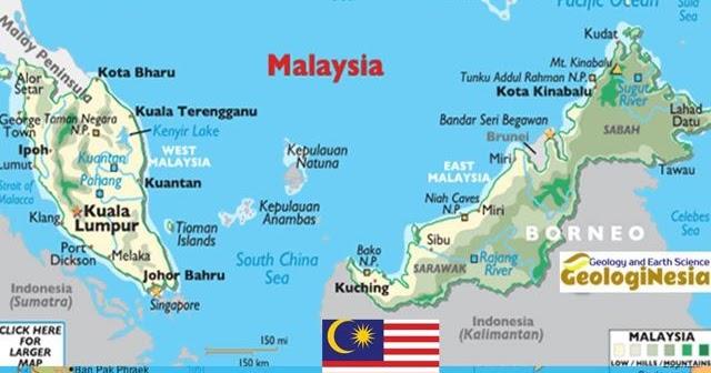 Peta Negara Malaysia Lengkap Dengan Sumber Daya Alam Kota Batas Wilayah Dan Keterangan Gambar Lainnya Geologinesia