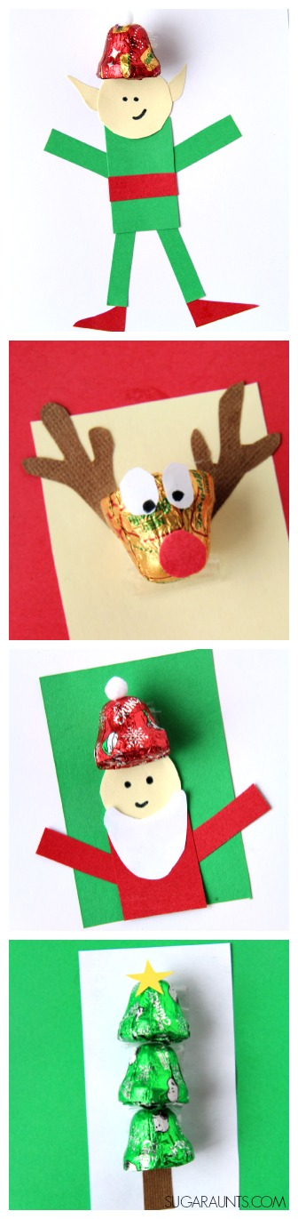 Chocolate Bell card making crafts for Christmas card giving and DIY gift idea that kids can make.