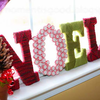 Yarn Wrapped Letters, yarn crafts, Christmas decoration