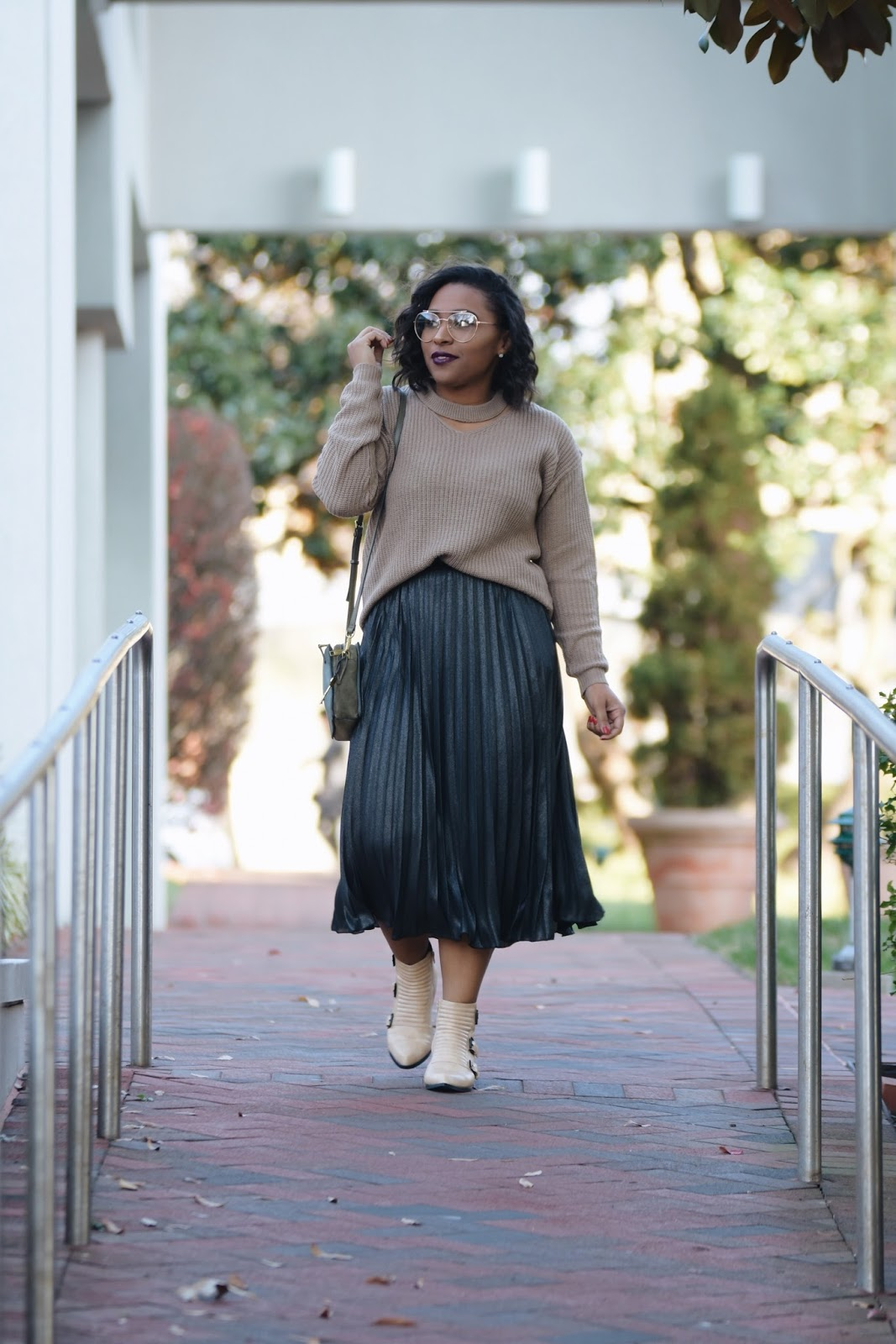 Geek Chic Style, pleated skirt, rainbow, fossil bag, guilty soles, fall booties, clear glasses trend, fall make up looks