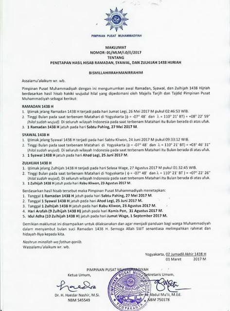 Maklumat PP Muhammadiyah tentang Ramadhan, Syawal dan Dzulhijjah 1438 H