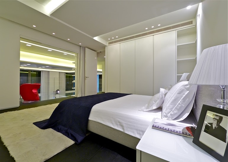 Modern bedroom in the penthouse