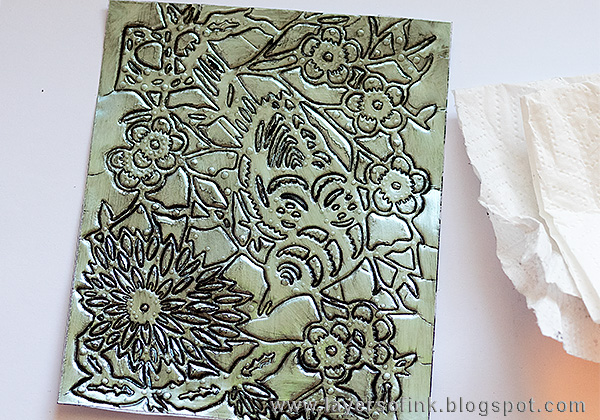 Layers of ink - Debossed Metallic Bird Tutorial by Anna-Karin with Tim Holtz Paper Cut Bird