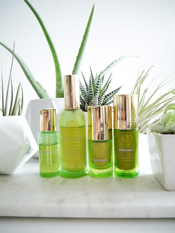 Tata Harper all-natural skincare for hydrated, luminous skin in the winter time, including: Beautifying Face Oil, Illuminating Moisturizer, Illuminating Eye Creme, Hydrating Floral Essence