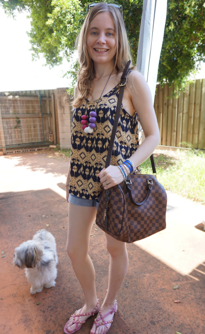 Away From Blue Queensland Summer Denim Shorts Printed tank LV Speedy B outfit