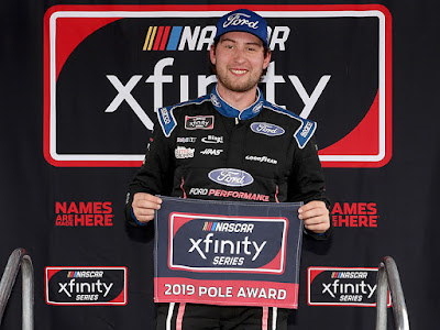 Chase Briscoe won the Pole Award for Saturday's NASCAR Xfinity Series Drive for the Cure 250 presented by Blue Cross Blue Shield of North Carolina at Charlotte Motor Speedway (100.346 mph).