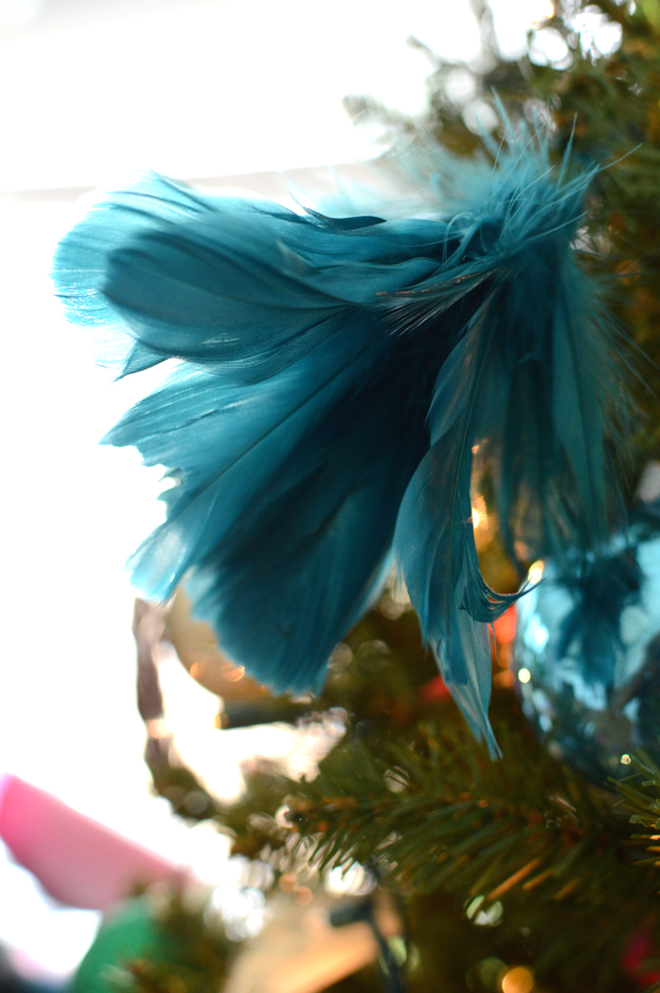 feathers as ornament for Christmas tree