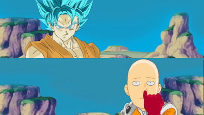 Saitama vs Son Goku Super Saiyan Blue