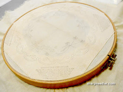Society Silk Violets: Mounted on muslin and in a hoop ready to stitch