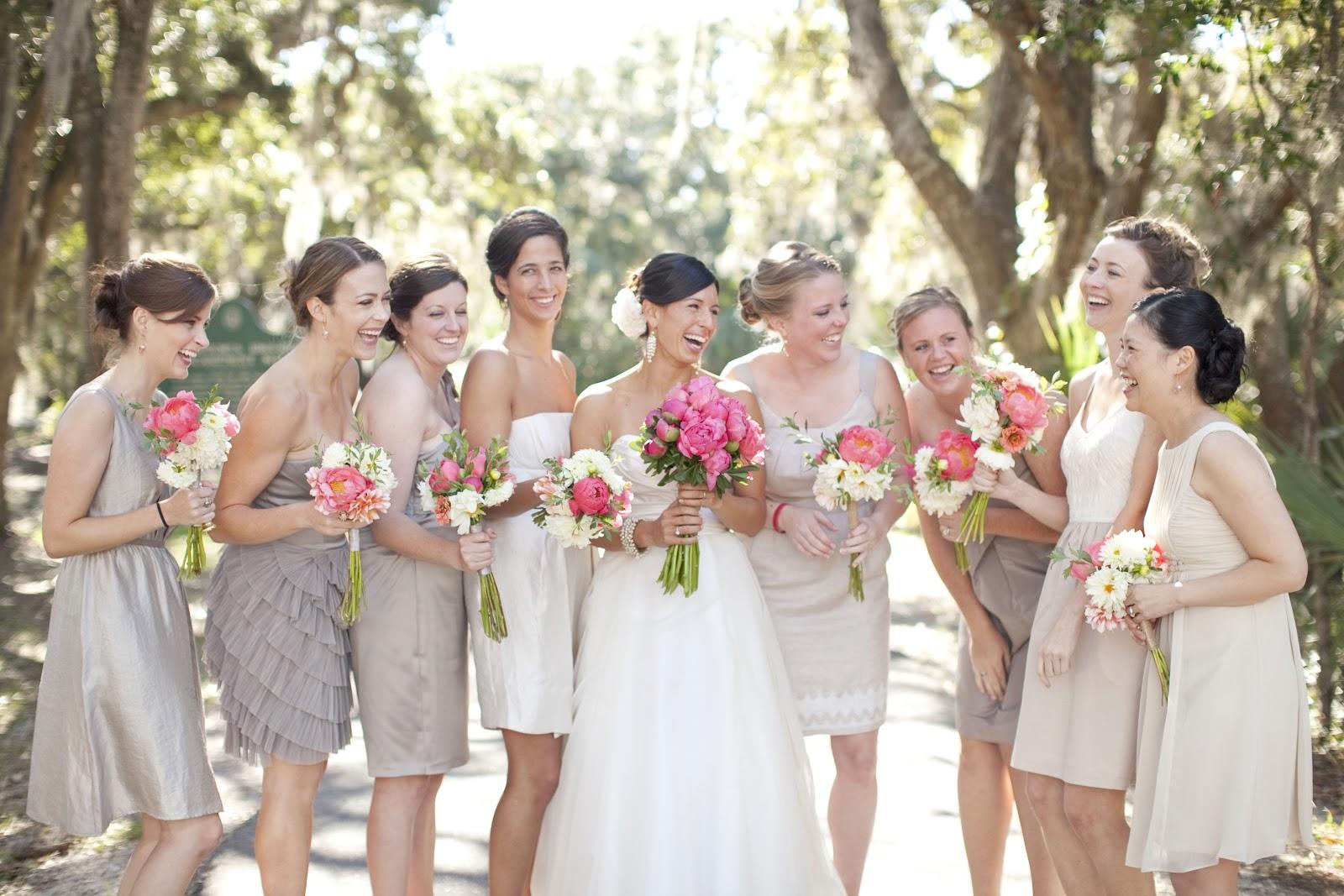 Bridesmaid Dresses In Neutrals Champagne Beige And Pale: Bald Head Island Club Weddings