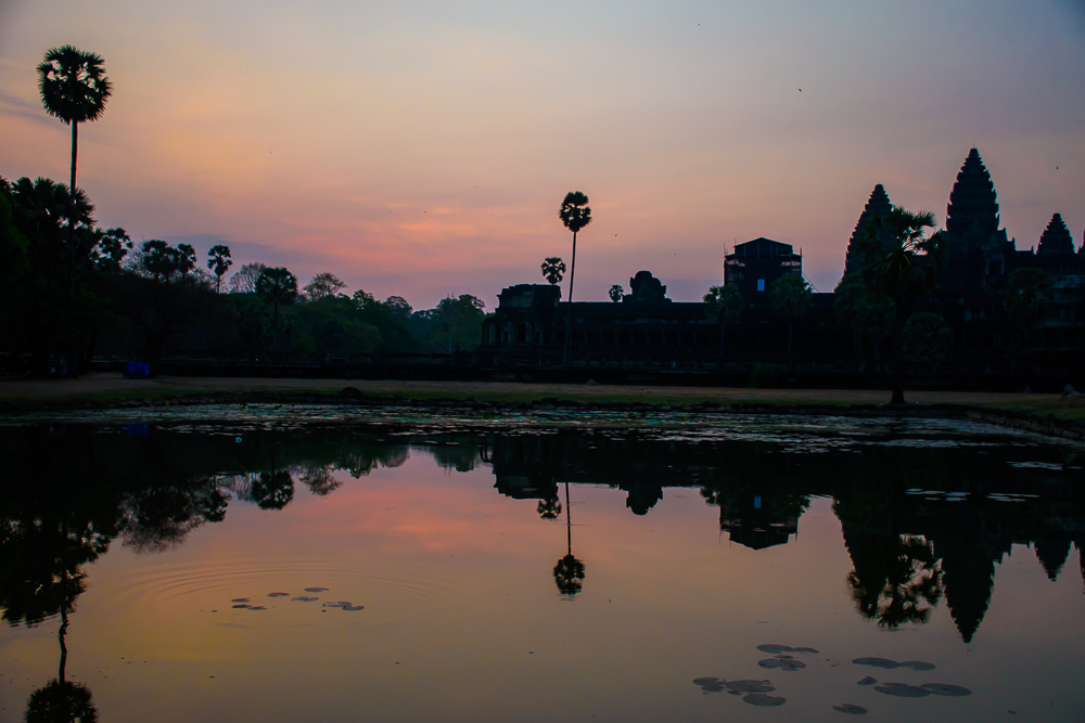sunrise at angkor wat temple siem reap cambodia image