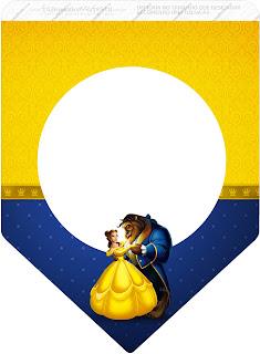 Banderines de Fiesta de La Bella y la Bestia para imprimir gratis.