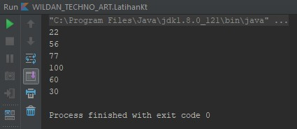 Screenshot menampilkan output dari objek Set