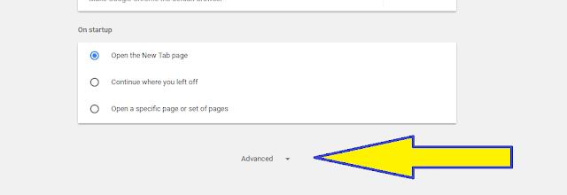 Pozicija dugmeta advanced (napredno) u podešavanjima Google Chrome-a