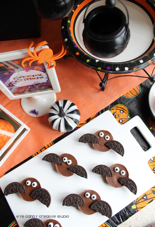 reeses bats, halloween party, halloween treats, easy halloween treat