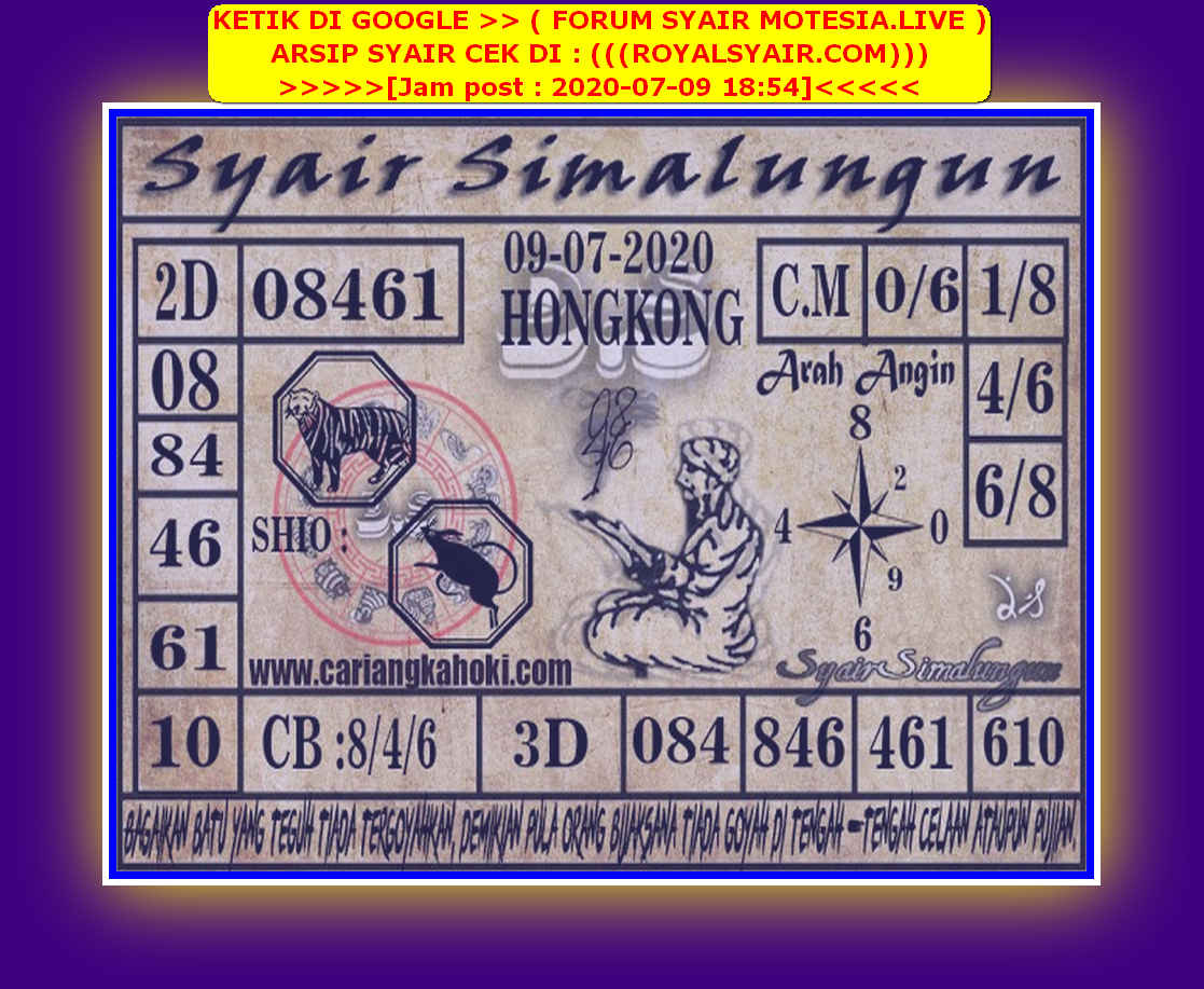 Kode syair Hongkong Kamis 9 Juli 2020 164