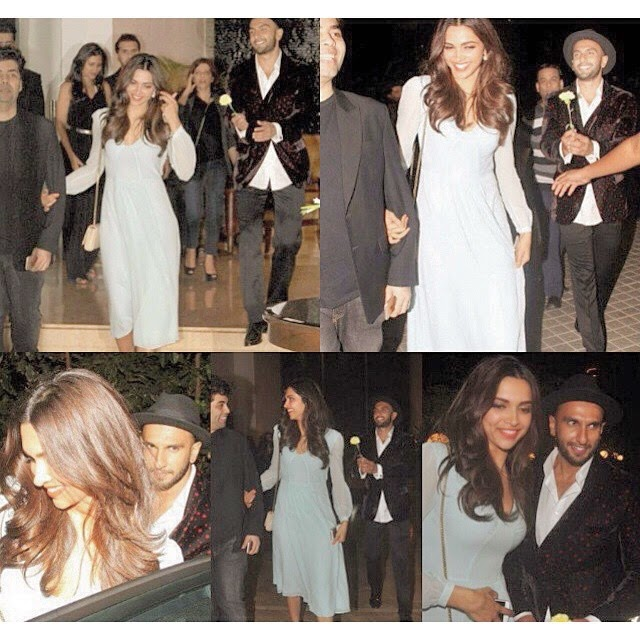 wow he looks so in love i cant get this tingly feeling out of my body its coming the day is coming💍  ranveer , singh , ranveer singh ,  cute , deep veer , pizza ,  deepika padukone , baba ,  farahkhan , khan , hot ,  couple , my feels ,  day um ,, Deepika Padukone Hot Pics In Blue Dress At Farah Khan Bday Party