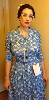 Gail Carriger in a Blue & Cream Vintage 1950s Day Dress