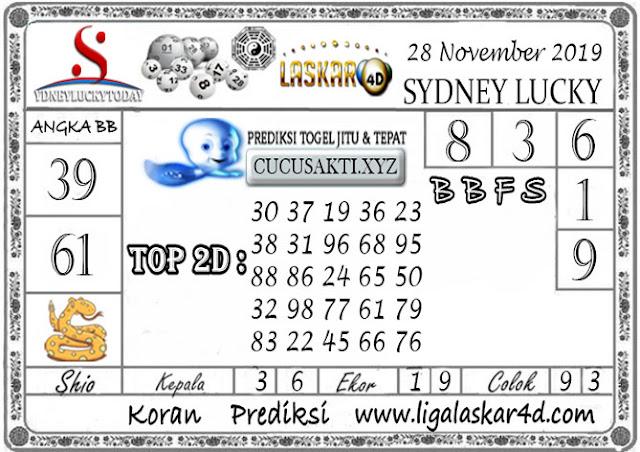 Prediksi Sydney Lucky Today LASKAR4D 28 NOVEMBER 2019