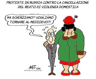 violenza domestica, putin, russia, umorismo, satira, vignetta