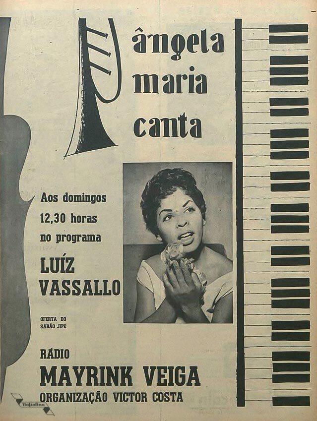 Ângela Maria como atração de um programa dominical da Rádio Mayrink Veiga em meados dos anos 50
