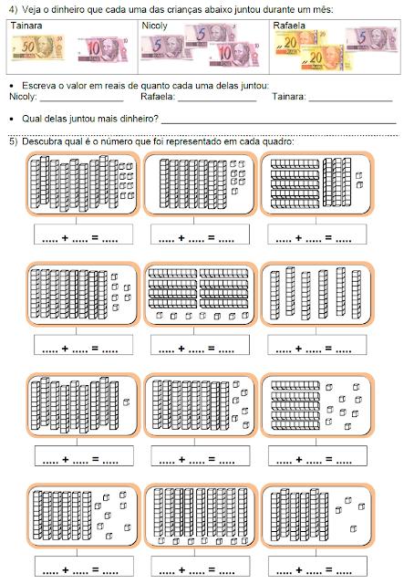 Atividades - Gráfico, Figuras planas, Hora, Real e Material dourado - página 2