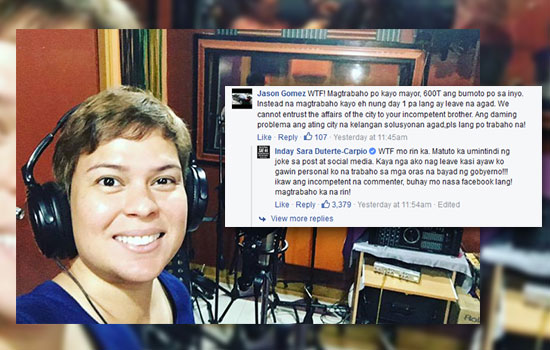 Inday Sara Duterte pissed off in a netizen on 'first solo album' issue