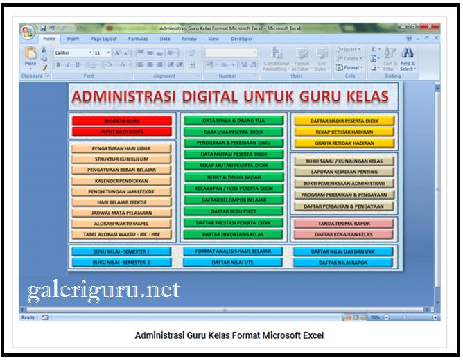 38 Administrasi Guruk Kelas 1 Berkas Dengan Format Microsoft Excel   Galeri Guru
