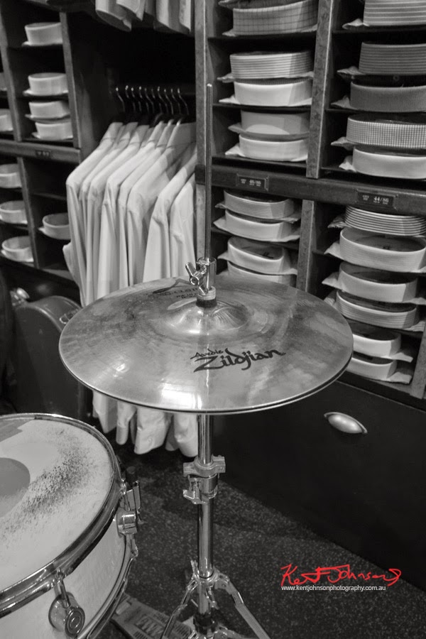 Drum kit with Zildjian cymbals, and Ganton shirts! Tequila Twins play Ganton Man competition at Shirt Bar Sydney - Photography by Kent Johnson.