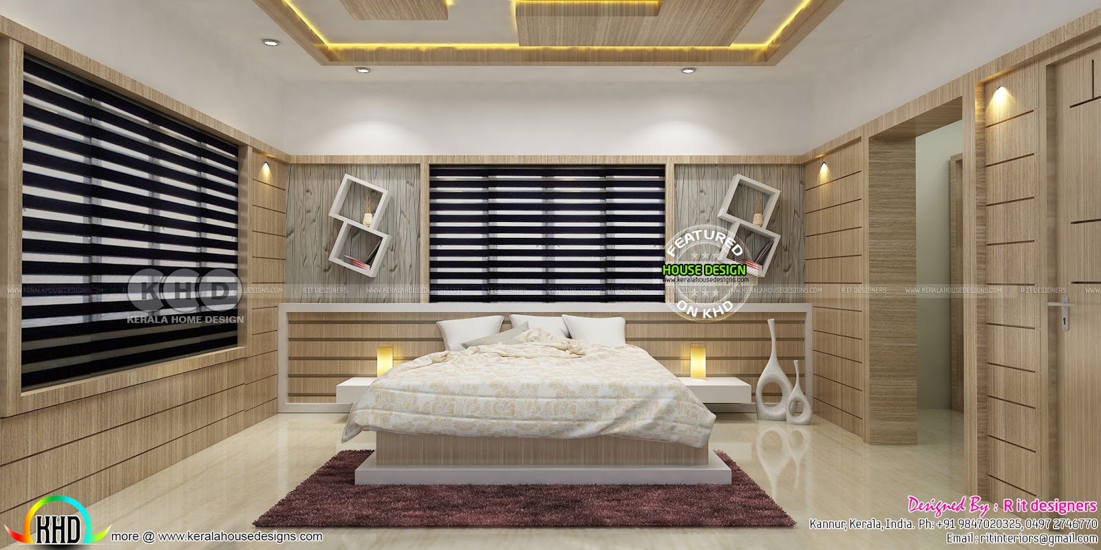 Beautiful modern bedroom interior designs  Kerala home