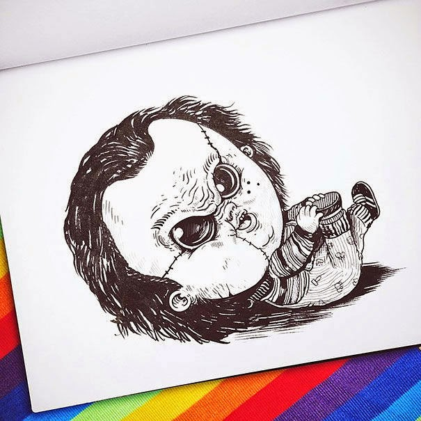 15-Chucky-Alex-Solis-Baby-Terrors-Drawings-Horror-Movie-Villains-www-designstack-co