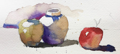 watercolor still life exercise on Strathmore 500 cold press paper with Princeton Neptune 6 round brush
