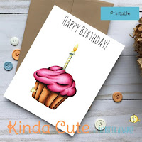 Cupcake birthday printable card