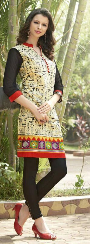 Cream & Black Cotton Casual Printed Kurti For Sale